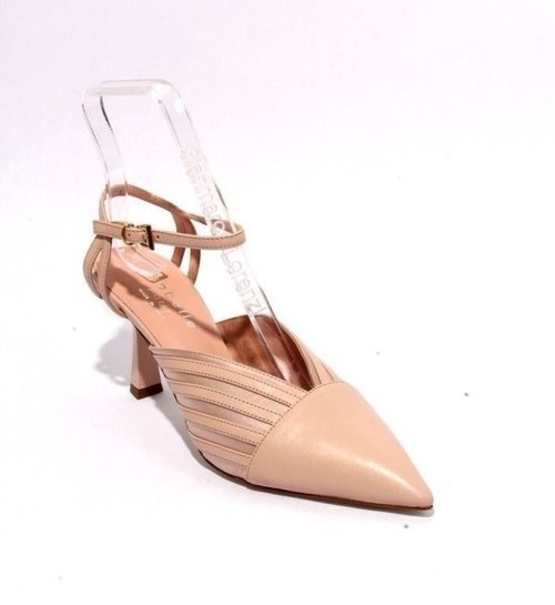 Pink Beige Leather Satin Pointed Toe Heel Sandals