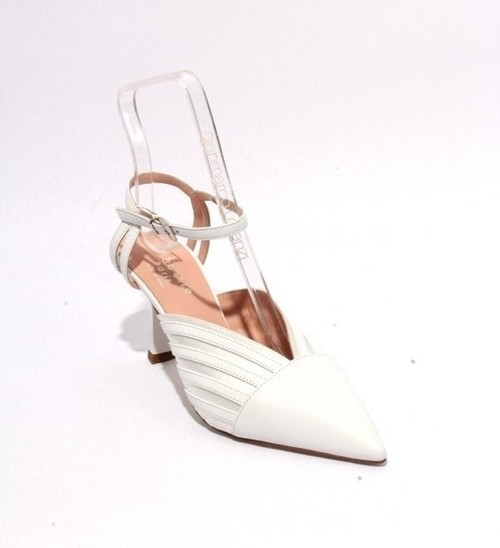 White Leather Satin Strappy Pointed Toe Heel Sandals