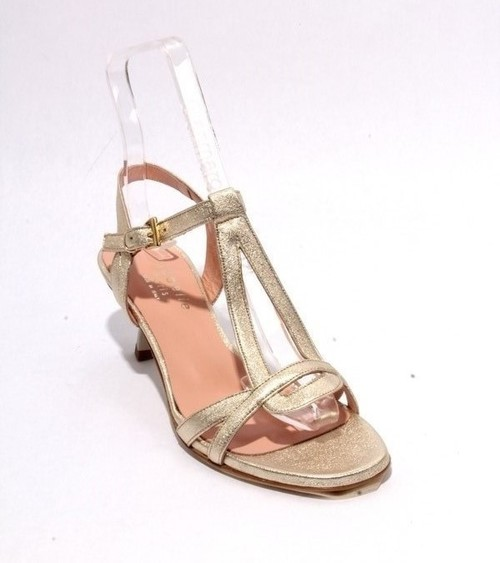 Gold Leather Ankle Strap Heel Sandals