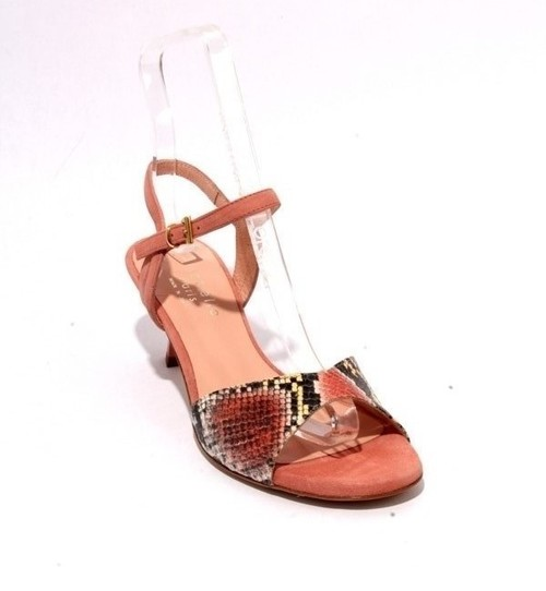 Multicolor Leather Peach Suede Strappy Heel Sandals