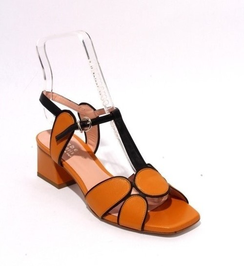 Multicolor Leather Ankle Strap Heel Sandals