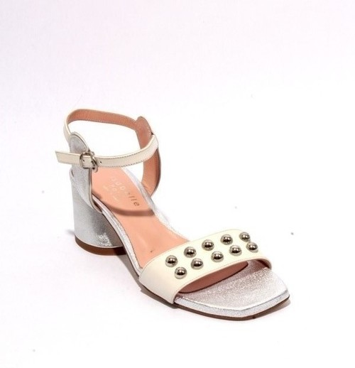 White Silver Leather Ankle Strap Heel Sandals
