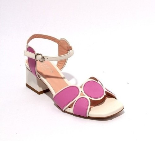 White Purple Leather Ankle Strap Heel Sandals
