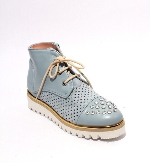 Blue Leather Suede Studded Zip Lace Summer Booties