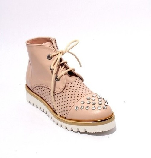 Pink Beige Leather Suede Studded Zip Lace Booties