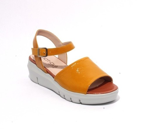 Multicolor Patent Leather Ankle Strap Wedge Sandals