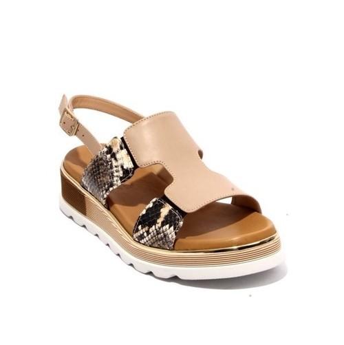 Multi-Color Leather Slingbacks Platform Sandals