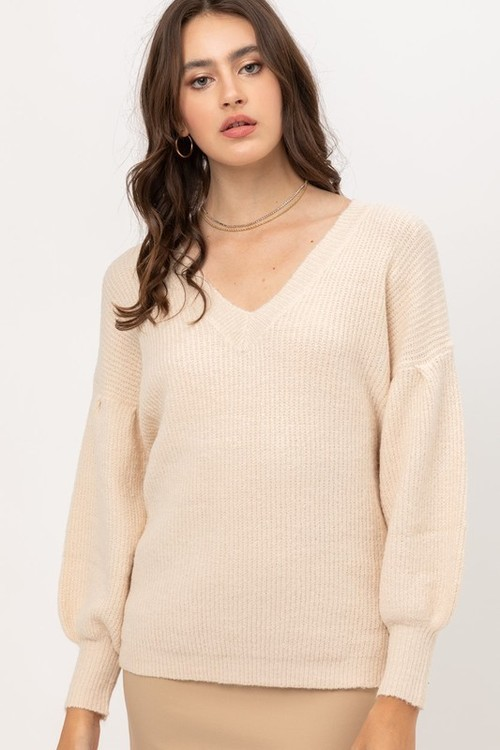 Butter Balloon Sleeve Ribbed Sweater
