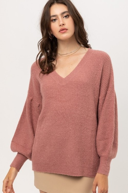 Mauve Balloon Sleeve V Neck Ribbed Sweater