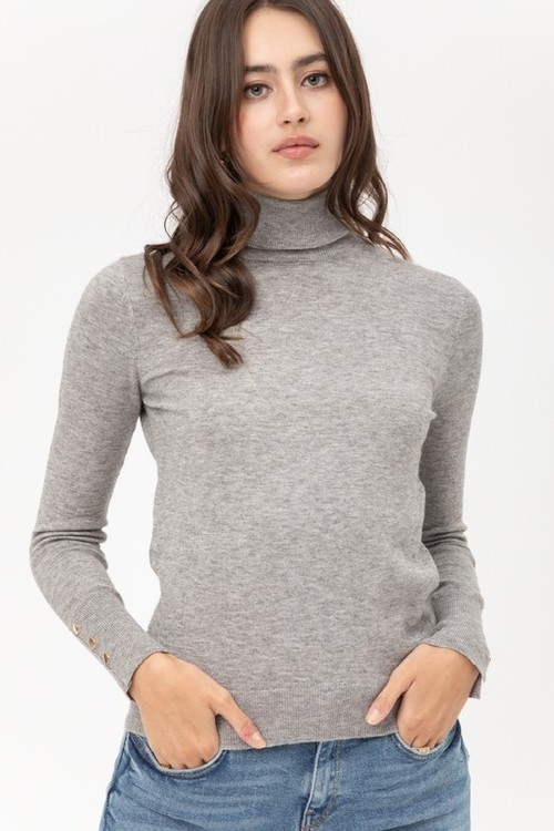 Heather Grey Light Weight Turtleneck Sweater