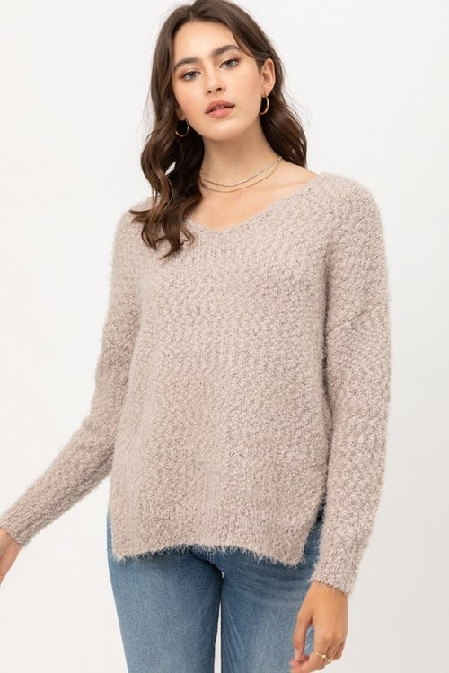 Fuzzy Yarn Dove V Neck Sweater