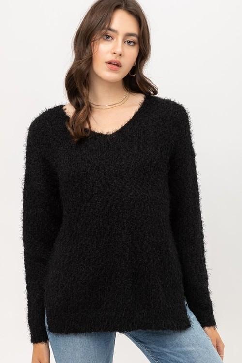 Fuzzy Yarn Black V Neck Sweater