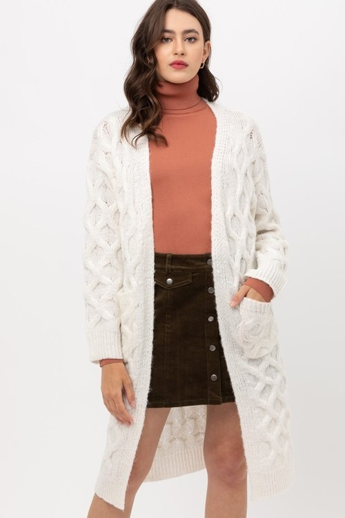 Ivory Cable Knit Long Cardigan