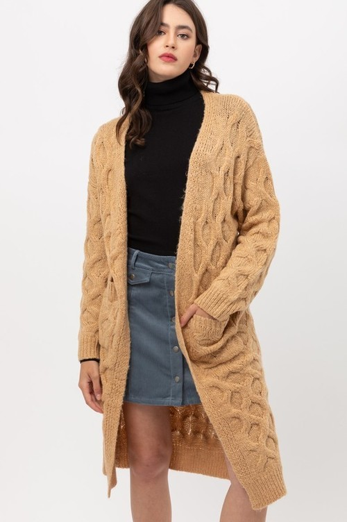 Honey Cable Knit Long Cardigan