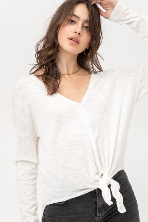 Slub Knit Winter White Tie Front