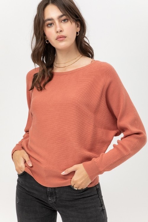Terra Cotta Raglan Sleeve Ribbed Sweater