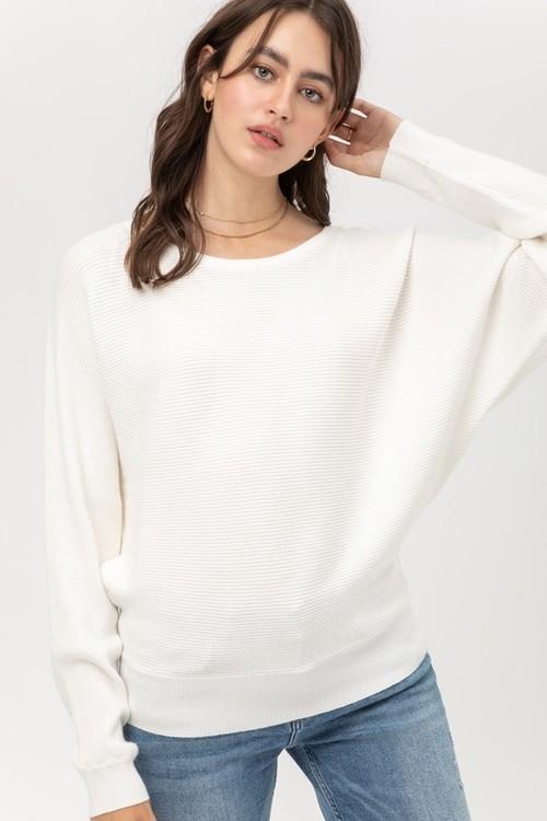 Ivory Raglan Sleeve Ribbed Sweater
