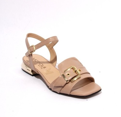 Beige Gold / Leather Ankle Strap Buckle Sandals