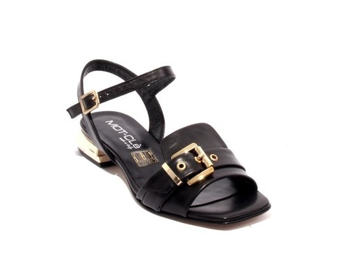 Black Gold / Leather Ankle Strap Buckle Sandals