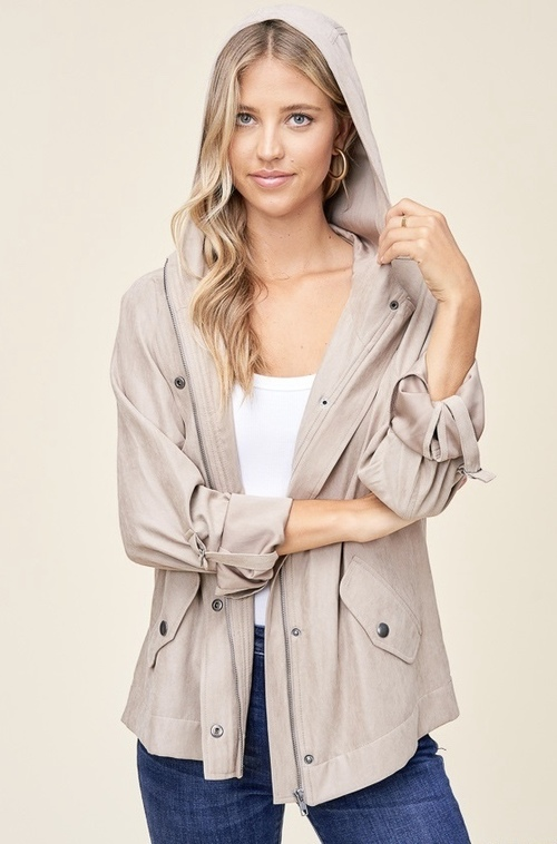 Snap Front Hidden Zip Long Sleeve Hooded Jacket Taupe