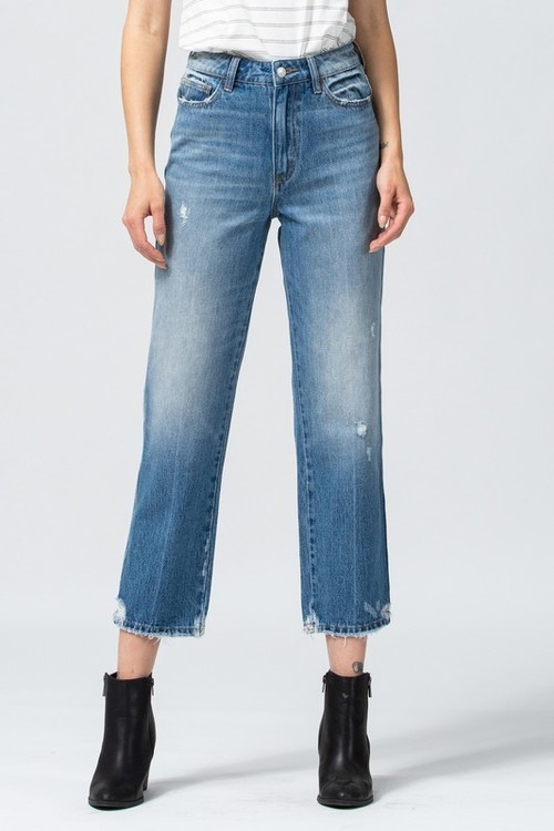 Enfold Distressed Hem Straight Crop Jean