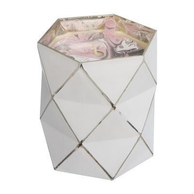 White Faceted Triangle Hexagon Candle Sweet Grace