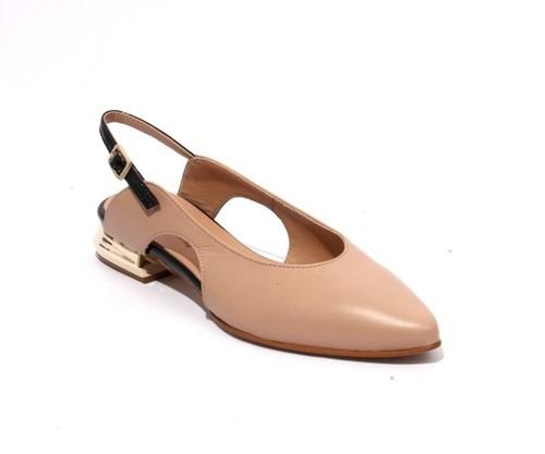 Beige Black Leather Pointy Slingbacks Heel Sandals