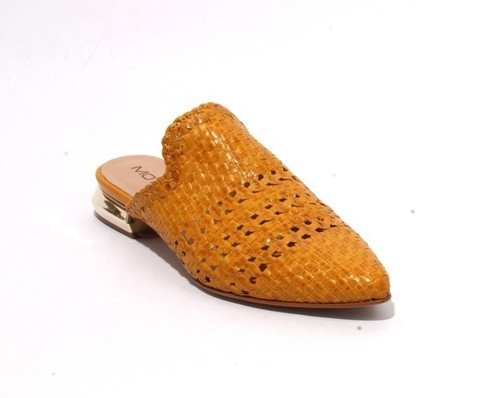 Antique Yellow Woven Leather Pointed Toe Flat Mules