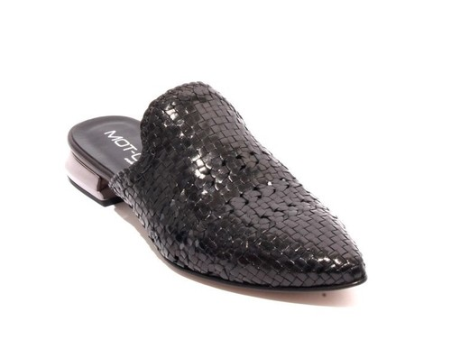Black Woven Leather Pointed Toe Flat Mules Shoes
