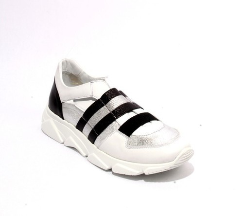 White Black Silver Leather Elastic Wedge Sneakers
