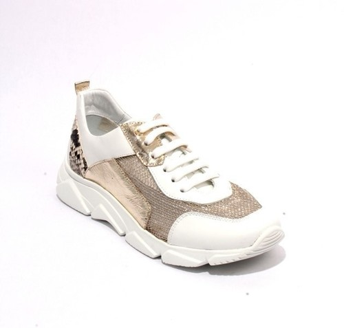 White Gold Leather Mesh Lace-Up Wedge Shoes Sneakers