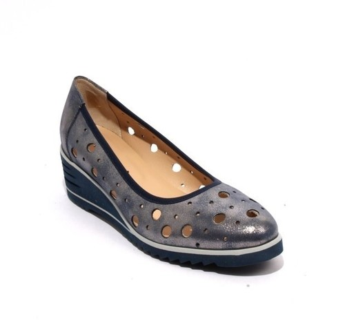 Sparkling Navy Perforated Leather Rounded Wedge Pumps