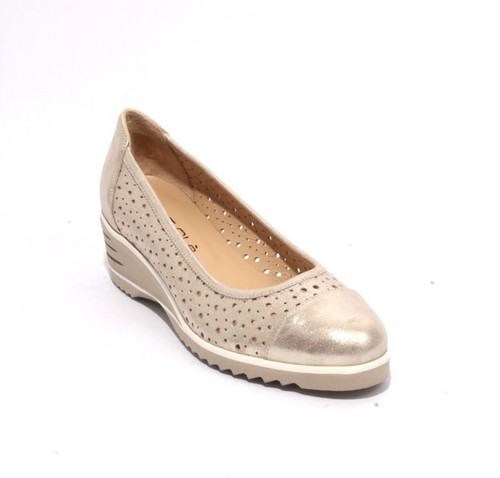 Sparkling Gold Perforated Leather Rounded Wedge Pumps