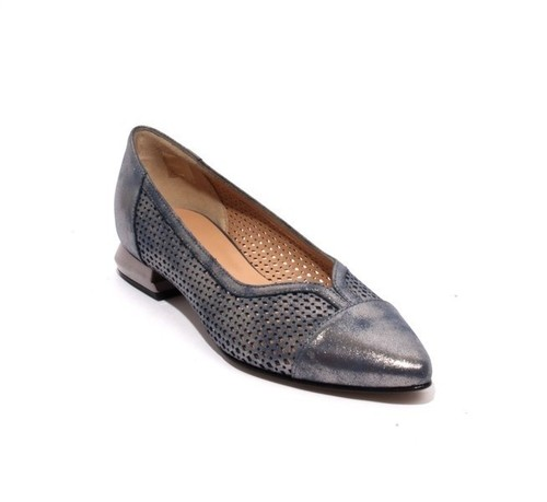 Sparkling Silver Navy Perforated Leather Pointy Pumps