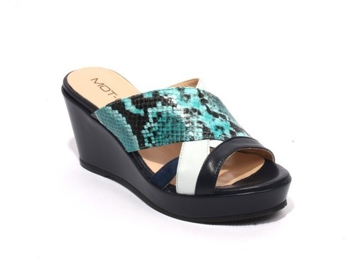 Multicolor Leather Suede Slides Wedge Sandals