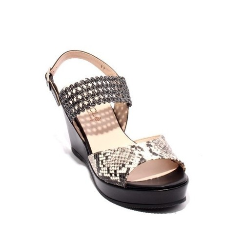 Black Animal Print Leather Elastic Slingback Wedge Sandal