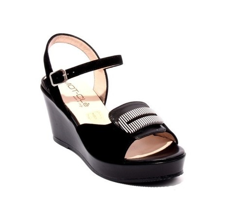 Black Leather Suede Ankle Strap Wedge Sandals
