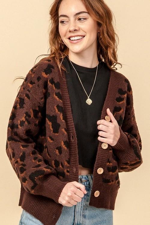 Leopard Button Down Cardigan