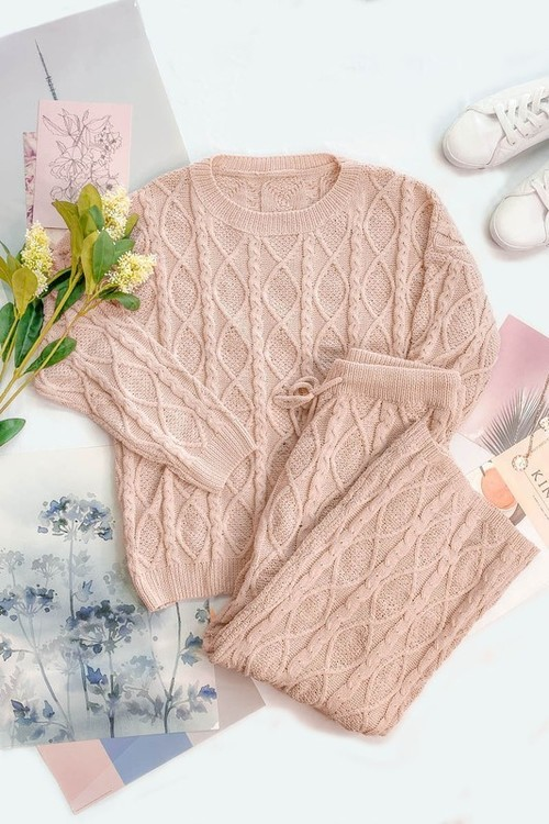 Cozy Cable Knit Sweater & Pant Set