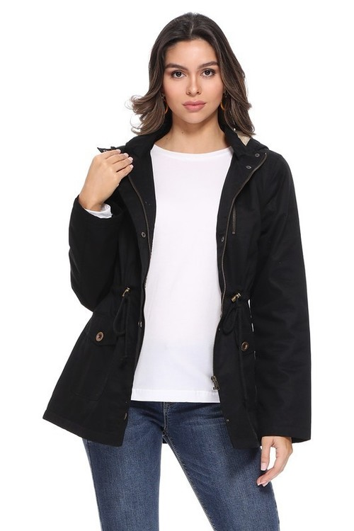 Fur Lined & Hooded Zip Up Black Jacket