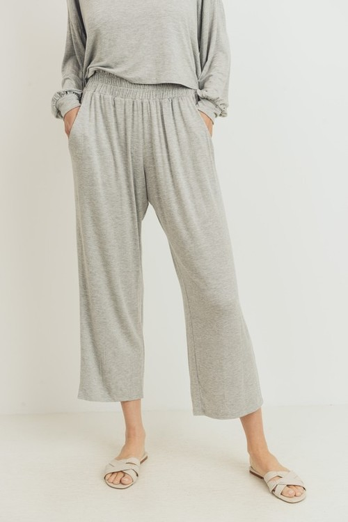 Comfy Heather Grey Wide Leg Crop Pant