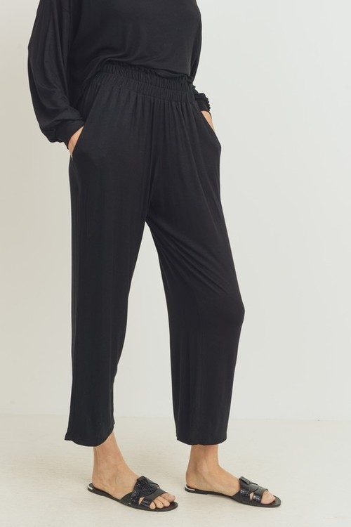 Comfy Black Wide Leg Crop Pant