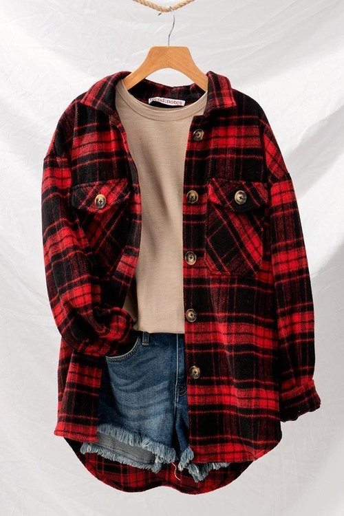 Red Checkered Oversized Shirt Jacket