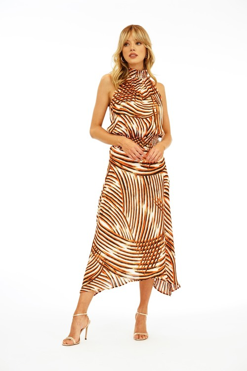 Rebel High Neck Smocked Maxi Dress