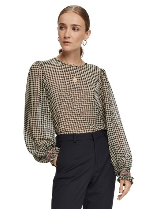 Sheer Houndstooth Patterned Blouse