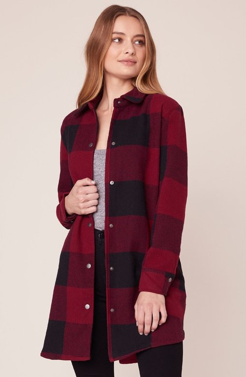 Eldridge Bourdeaux Long Button Front Coat
