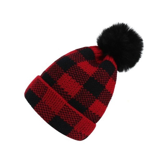 Plaid Red Pom Beanie