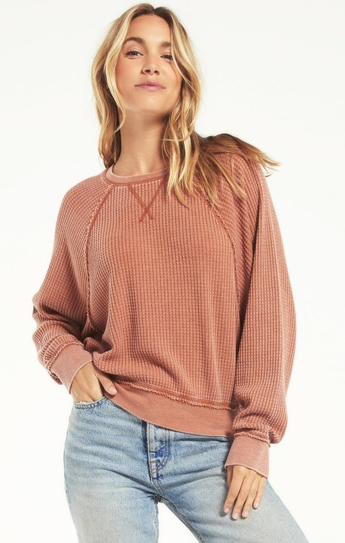 Claire Waffle Long Sleeve Copper