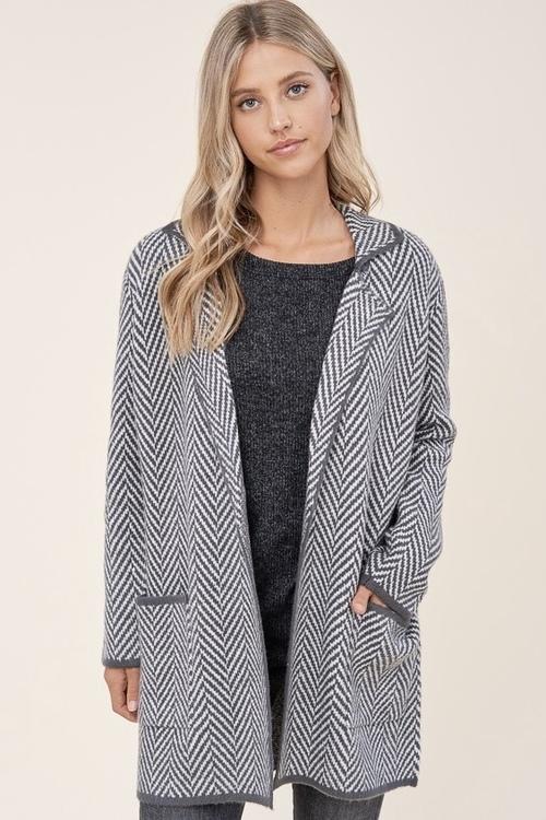 Herringbone Textured Open Front Sweater Charcoal