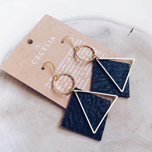 Cecelia Diamond Hoop Black Leather Earring
